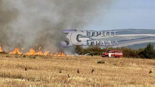 Пламнаха 2 000 декара земеделска земя във Великотърновско